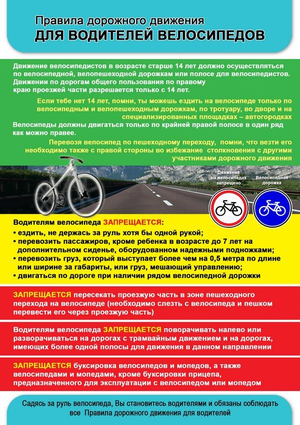 Правила для водителей велосипедов